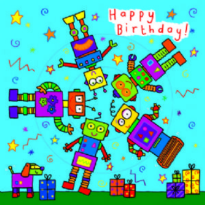 Children's Birthday Card Spinner - Robots